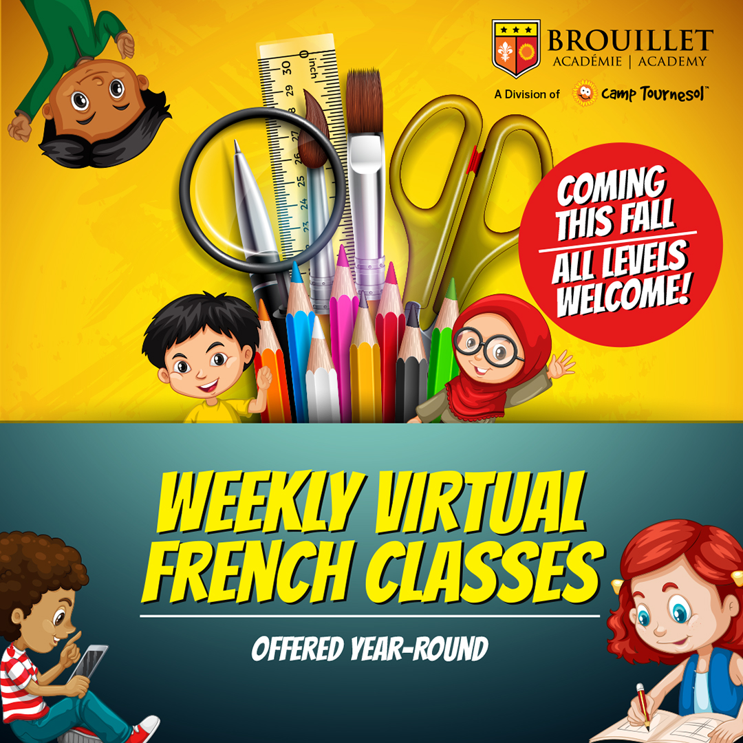 Weekly Virtual French Classes: offered year round. All levels welcome! Pictured are various smiling cartoon characters waving or writing in a notebook.