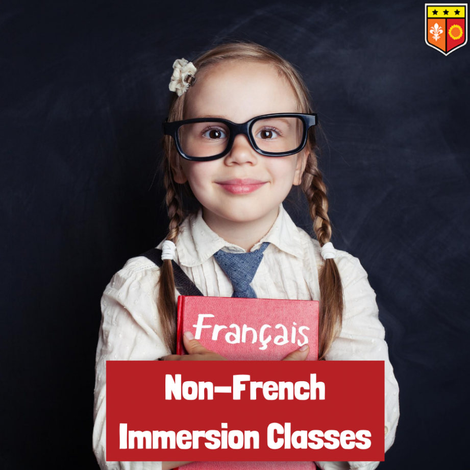 Non-French Immersion Classes. Pictured is young girl smiling with large glasses and holding a French textbook.