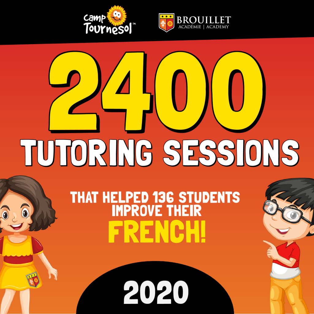Celebrating 2400 tutoring sessions completed in 2020 that helped 136 students improve their French! Pictured are a cartoon girl and boy smiling.