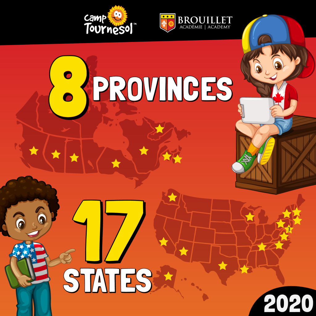 Celebrating registrations from 8 provinces across Canada and 17 states in the United States of America. Pictured are maps of Canada and the USA, with a cartoon boy and girl wearing the shirts of their respective countries.